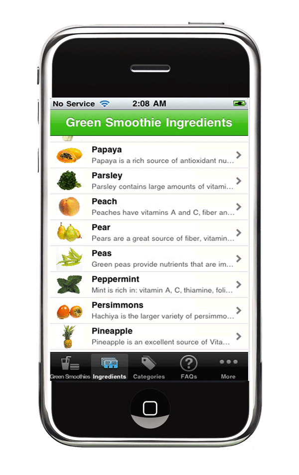 raw smoothie recipes iphone app